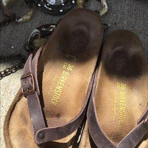 Birkenstock size 36 brown leather flip flop